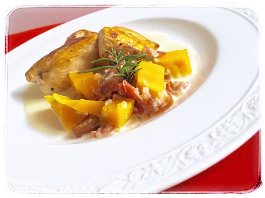 Gebratenes Huhn mit Kürbis-DattelGemüse