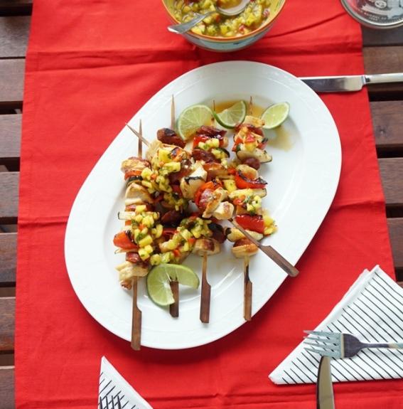 Hühnerspieße mit Mango Chili Salsa (2)